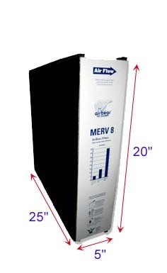 Air Bear Filters  20x25x5 MERV 8 | Plus Activated Carbon