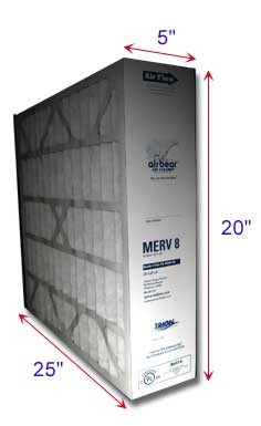 Air Bear Filters  20x25x5 MERV 8